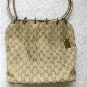 Authentic Beige Gucci Canvas Bucket Bag